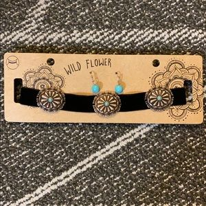 🆕 Turquoise Choker and Earrings Set